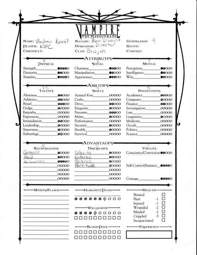 Vampire The Masquerade Character Sheet Pdf